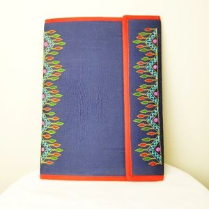NWOT handmade cloth folder with embroidery